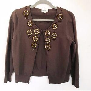 Milly   Beaded Neckline Brown Cardigan Sweater